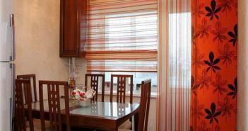 Декор з допомогою штор для кухні з балконними дверима