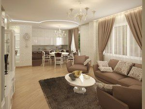 Дизайн і фото вітальні, совмешенной з кухнею і їдальнею