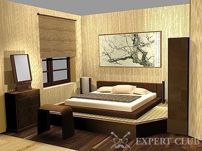 Ліжко з дерева в східному стилі