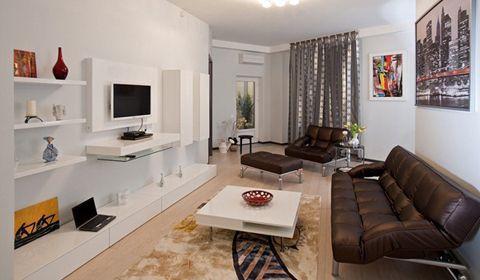 Дизайн витягнутої прямокутної вітальні