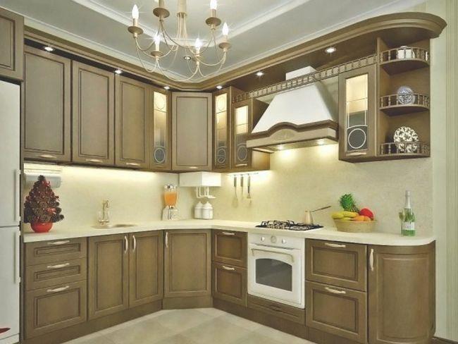 Кутова кухня з дерева в класичному стилі