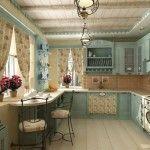 блакитна кухня в стилі провал