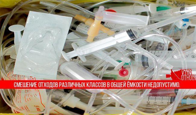 Мішаного медичні відходи різних класів небезпеки заборонено