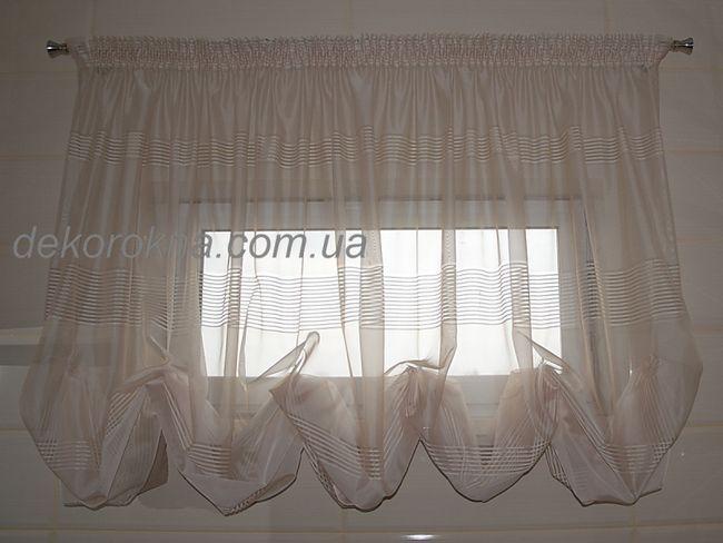 Австрійська штора з тюлі в горизонтальну смужку