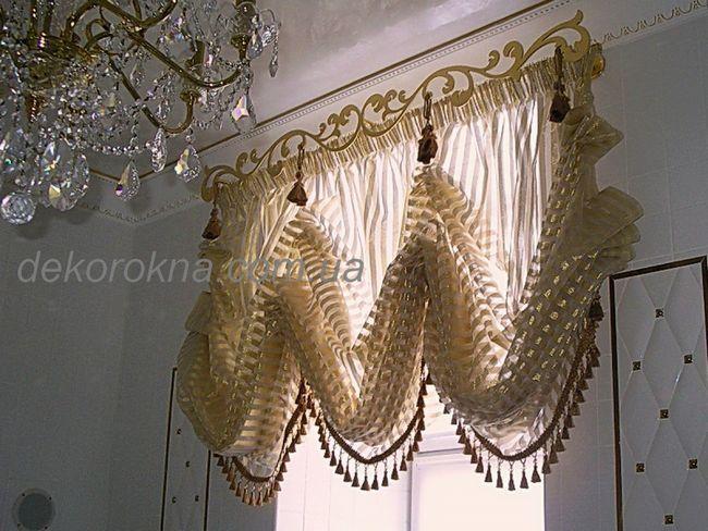 Австрійські штори зі смугастої тканини фірми Jab