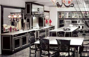 Кухня в стилі арт-деко з яскравими червоними елементами