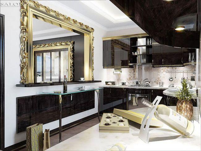 Дзеркало, обрамлене в золочену раму, додає дизайну кухні розкоші