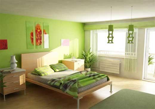 Інтер`єр спальні в зеленому кольорі