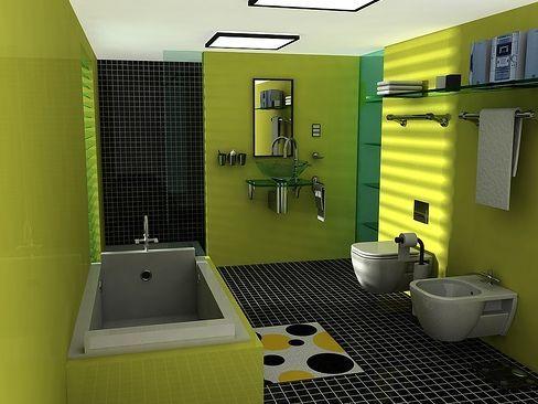 Інтер`єр ванної кімнати в зеленому кольорі