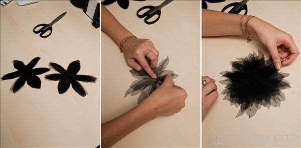 Квіти для штор з вуалі можна зробити самостійно