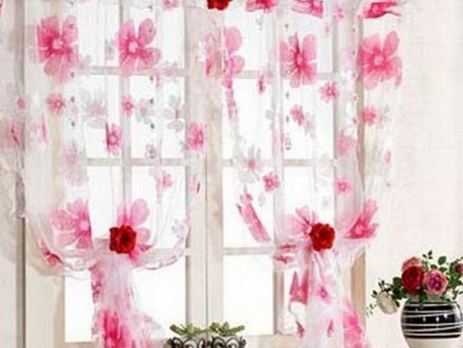 Ніжно рожеві штори