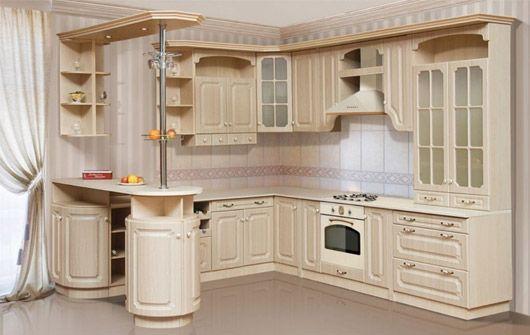 кутові кухні з барною стійкою в класичному стилі